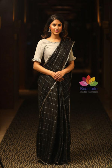 Black Handwoven Khadi Cotton Banarasi Saree-January Collection-Beatitude Label