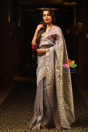 Bluish Grey Shade Linen Silk Saree with Cutwork Pallu-January Collection-Beatitude Label