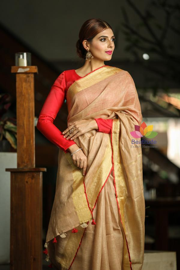Beige Shade Handwoven Linen Saree-October Collection-Beatitude Label