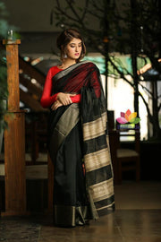 Black Handwoven Maheshwari Saree-October Collection-Beatitude Label