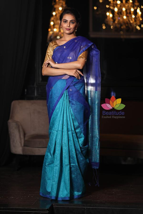 Double Shaded Handwoven Matka Silk Muslin Saree