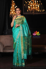Blue Shade Handwoven Matka Silk Muslin Saree-January Collection-Beatitude Label