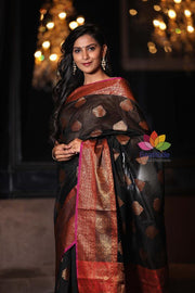 Black Handwoven Maheshwari Cotton Banarasi Saree-January Collection-Beatitude Label