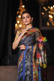 Multicolor Printed Handwoven Silk Linen Saree