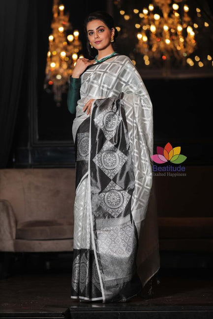 Grey Shade Handwoven Kanjivaram Silk Banarasi Saree