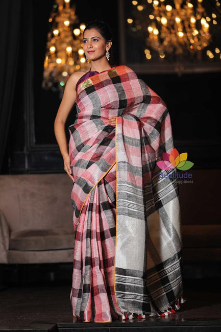 Multicolor Checks Handwoven Linen Saree