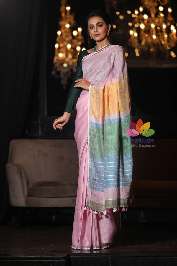 Pink Shade Handwoven Linen Saree