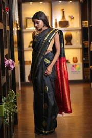 Black Handwoven Kanjivaram Silk Saree-Festival Collection-Beatitude Label