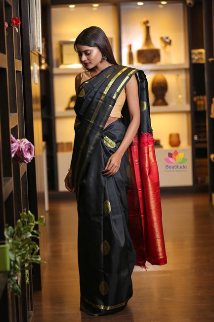 Black Handwoven Kanjivaram Silk Saree