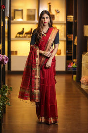 Maroon Red Shade Handwoven Maheshwari Saree-Festival Collection-Beatitude Label