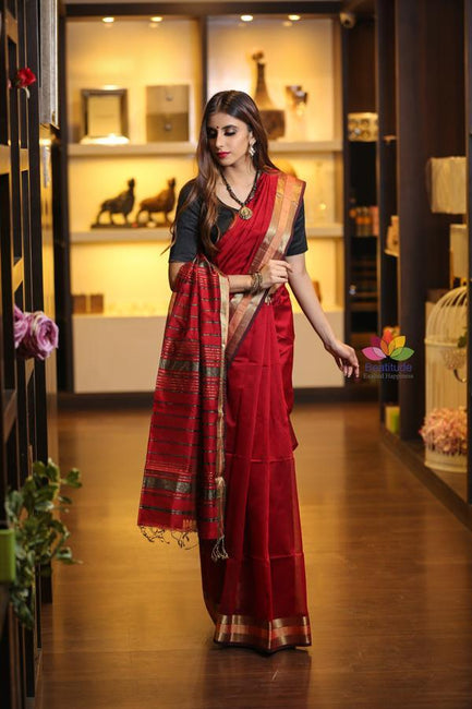 Maroon Red Shade Handwoven Maheshwari Saree