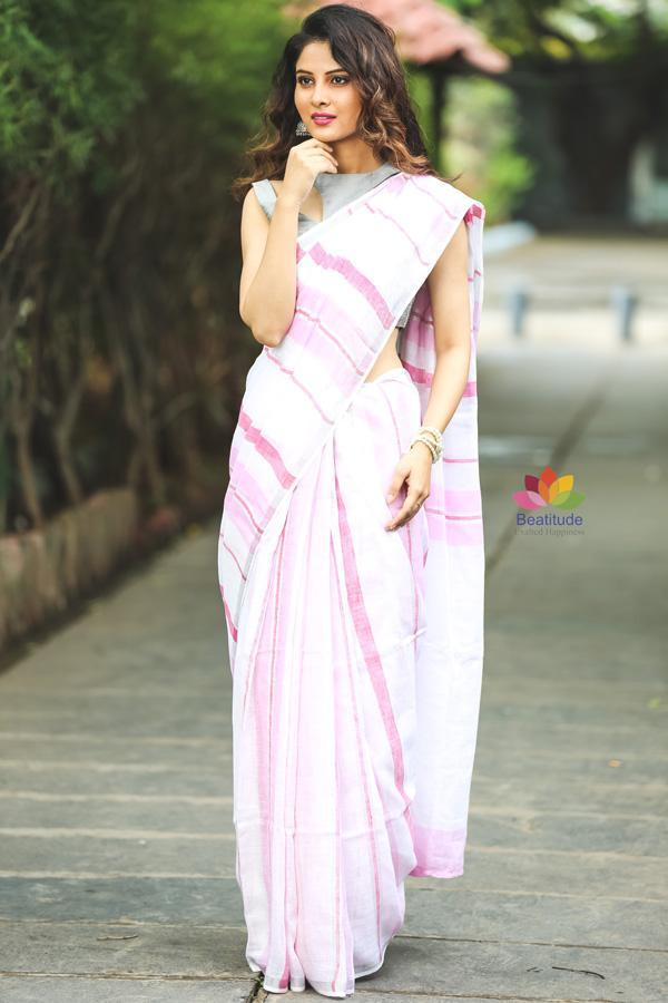White and Pink Handwoven Linen Saree