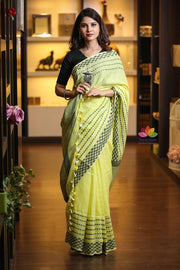 Light Yellow Handwoven Linen Saree-Festival Collection-Beatitude Label