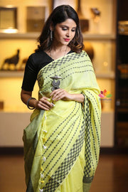 Light Yellow Handwoven Linen Saree
