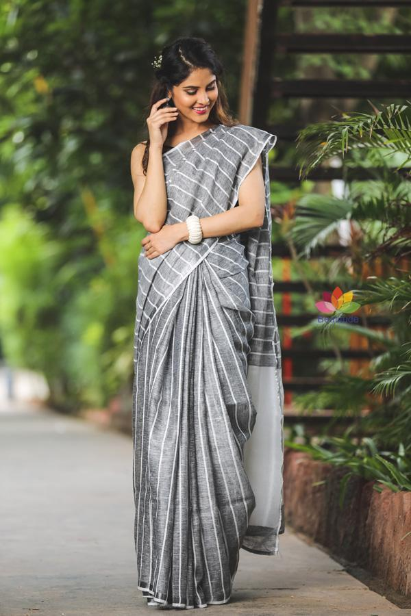 Greyish Black Shade Handwoven Linen Saree-Festival Collection-Beatitude Label