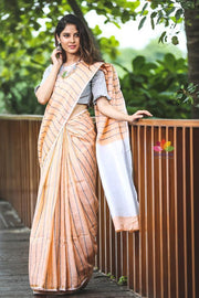 Orangish Peach Shade Handwoven Linen Saree