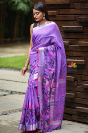 Lavender Shade Handwoven Linen Saree with Jacquard Weaving