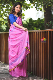 Pink Handwoven Khadi Cotton Saree