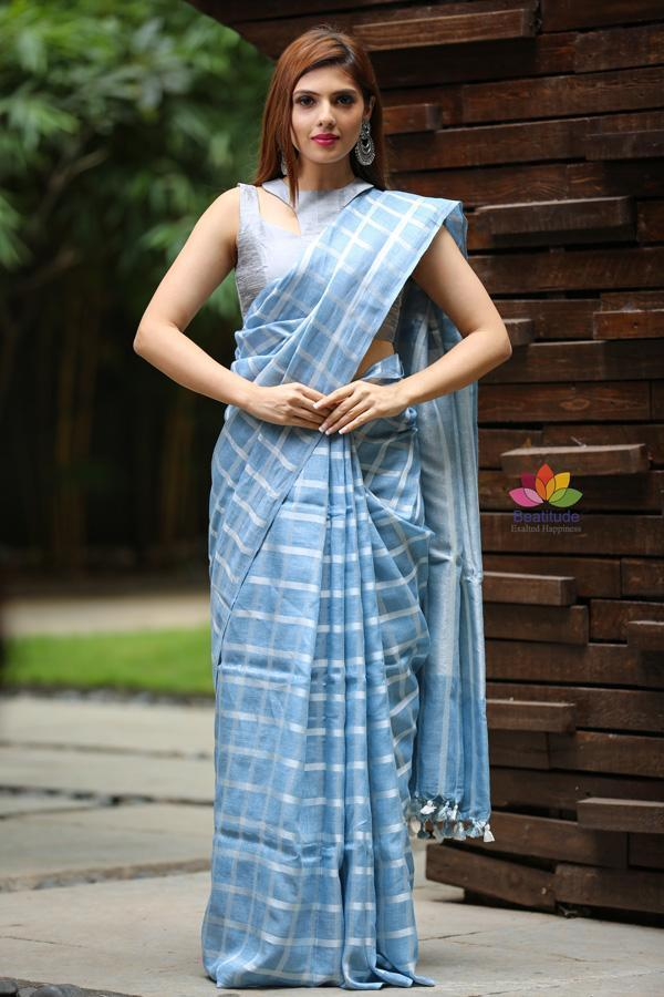 Blue Shade Handwoven Linen Saree-Festival Collection-Beatitude Label