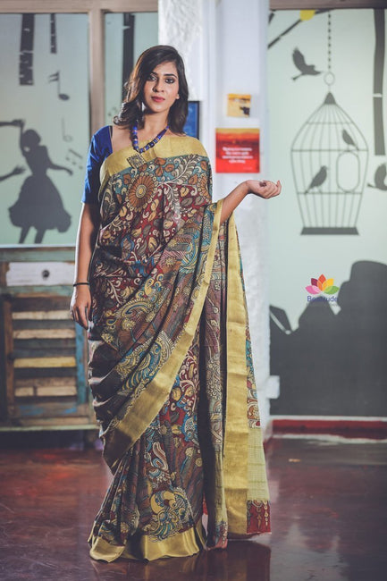 Multicolor Handpainted Kalamkari Silk Saree