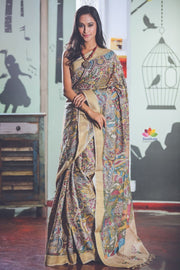 Multicolor Handpainted Kalamkari Tussar Silk Saree