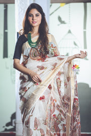 Off White Handwoven Printed Silk Linen Saree