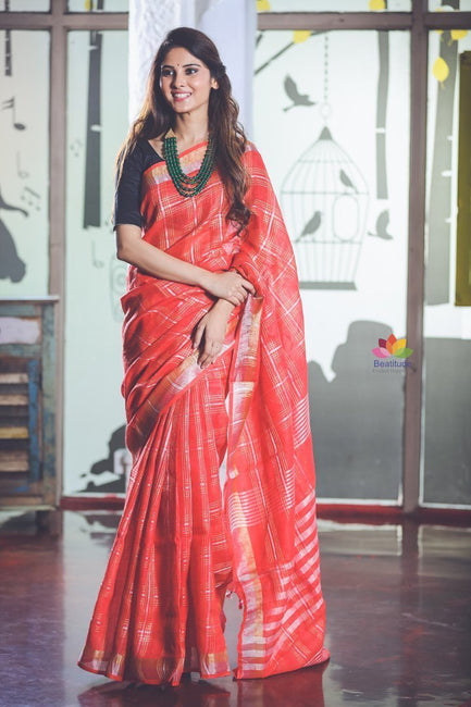 Red Checks Handwoven Linen Saree