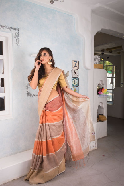 Multicolor Handwoven Linen Saree-Elegante Collection-Beatitude Label