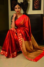 Red Handwoven Designer Dupion Silk Saree with Banarasi Brocade Borders-Saree-Chandri