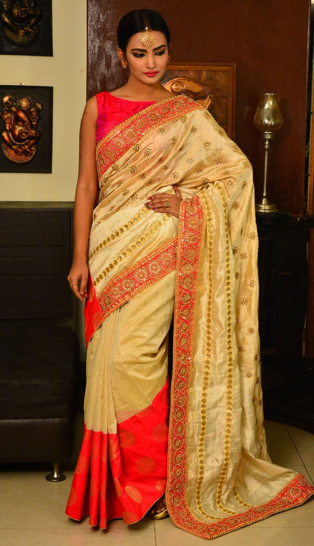 Off White Handwoven Designer Dupion Silk Saree-Saree-Chandri