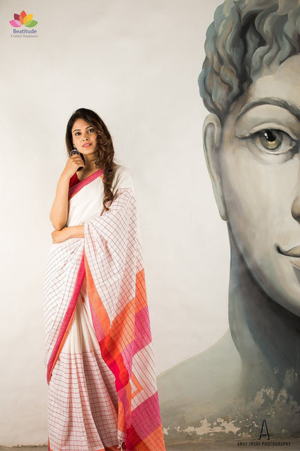 White Handwoven Khadi Cotton Saree-Elegante Collection-Beatitude Label