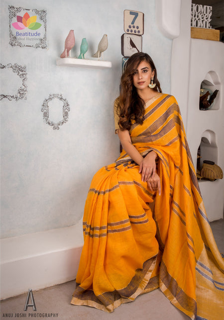 Turmeric Yellow Handwoven Linen Saree-Elegante Collection-Beatitude Label