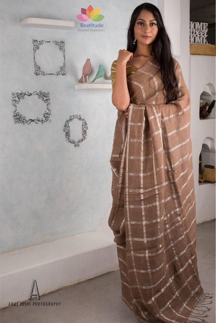 Light Chocolate Handwoven Linen Saree-Elegante Collection-Beatitude Label