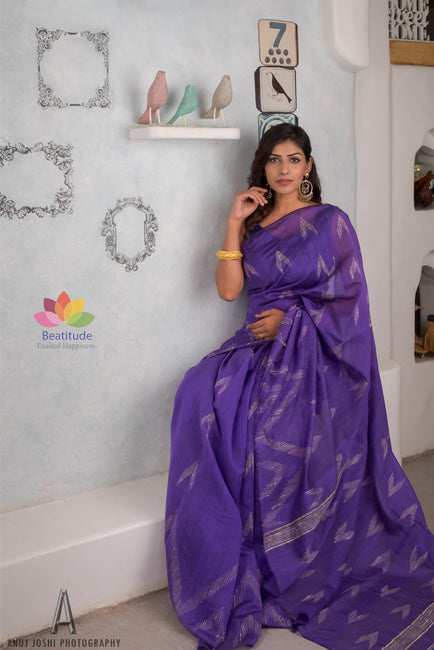 Faded Indigo Blended Cotton Handloom Saree-Elegante Collection-Beatitude Label