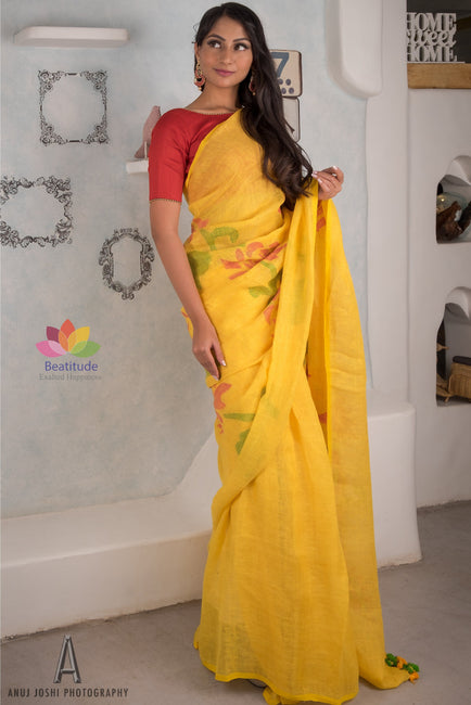Yellow Handwoven Linen Jamdani Saree-Elegante Collection-Beatitude Label