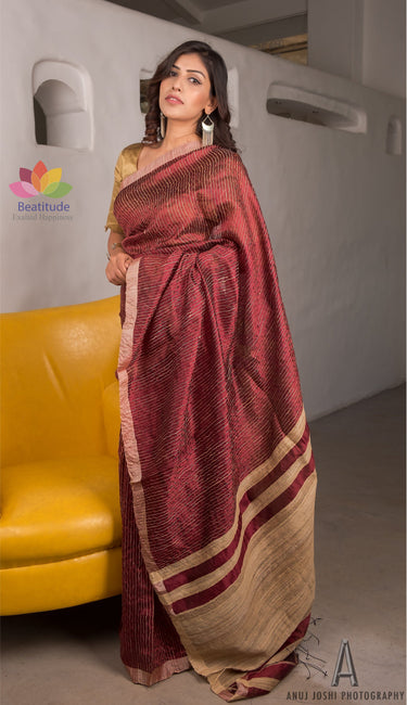 Wine Red Handloom Silk Saree-Elegante Collection-Beatitude Label