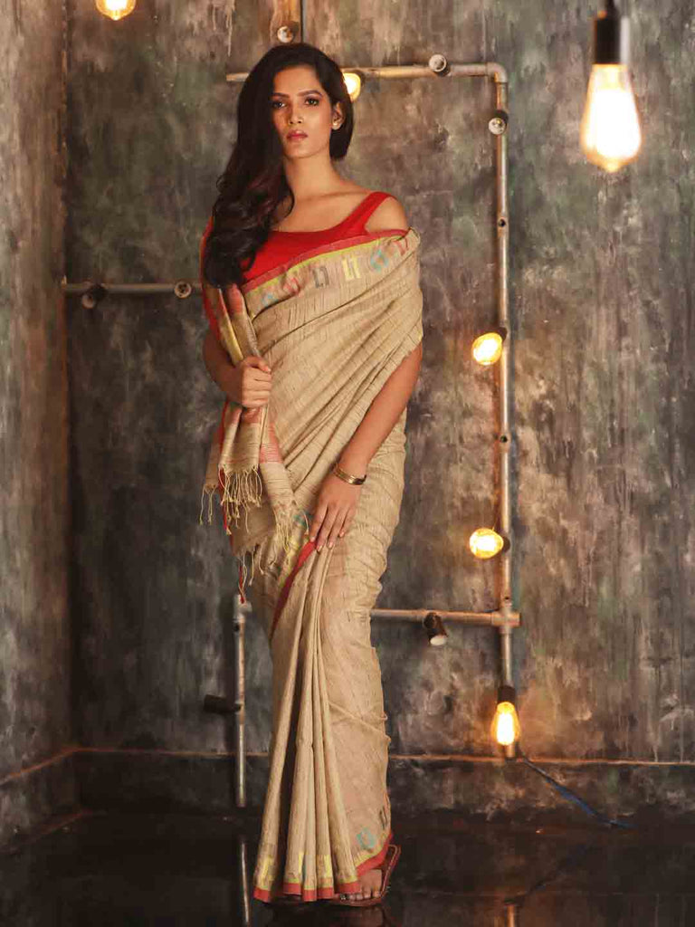 Grey Handwoven Tussar Matka Saree