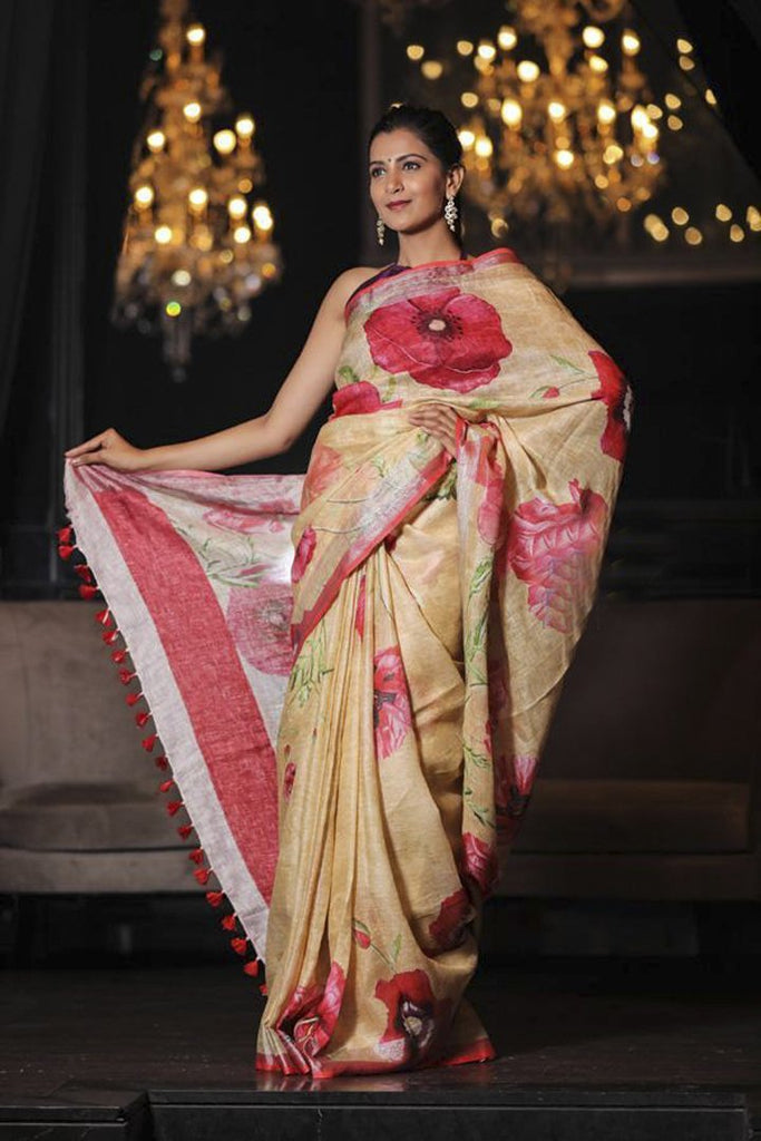 Floral Print Handwoven Printed Linen Saree