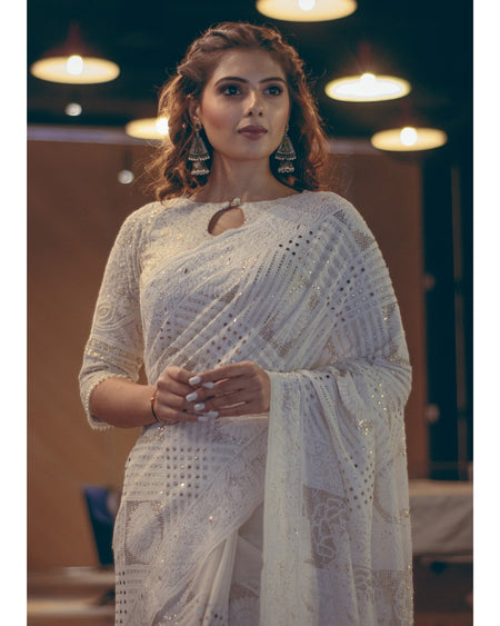 Ivory Chikankari Hand Embroidered Saree with Mukaish Work