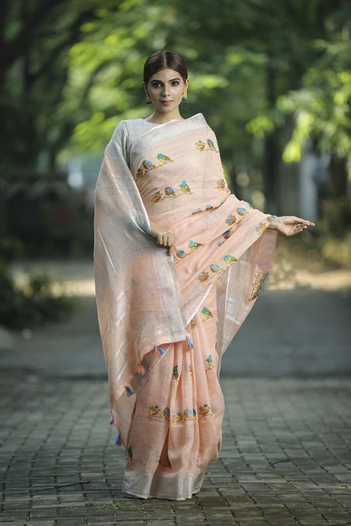 Peach Shade Embroidered Handwoven Linen Saree