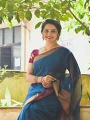 Blue Shade Handwoven Maheshwari Saree