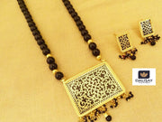 Handcrafted Rectangular Shape Thewa Pendant Set
