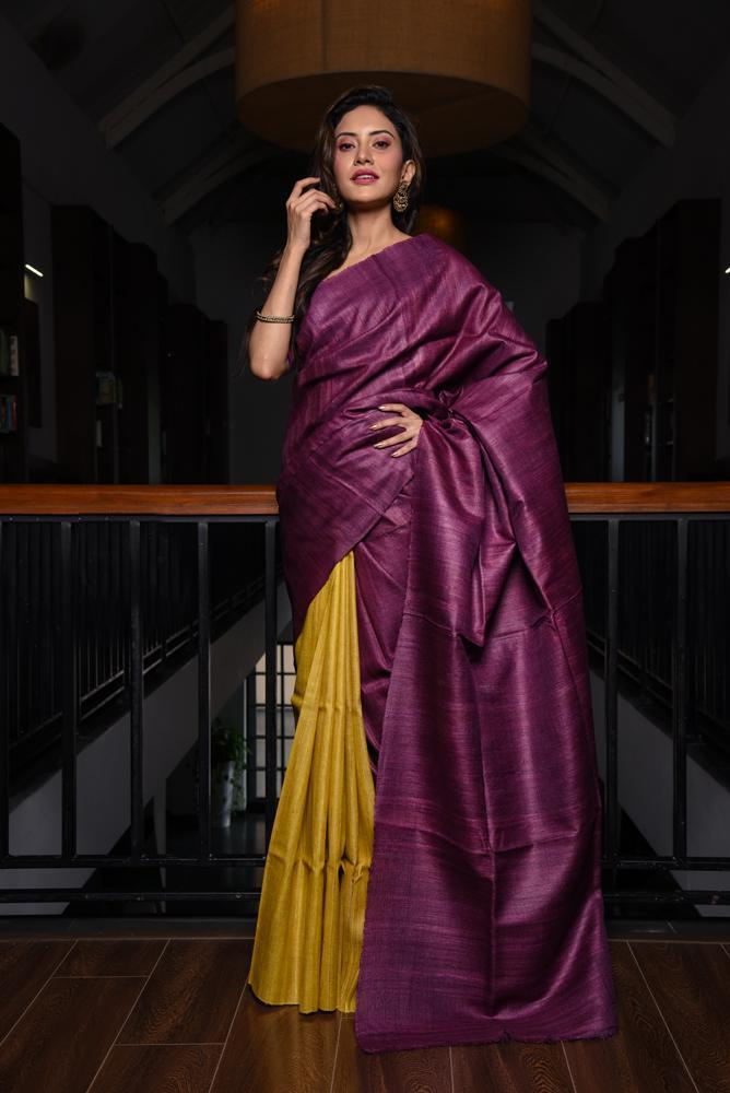Purple and Yellow Shade Tussar Raw Silk Saree