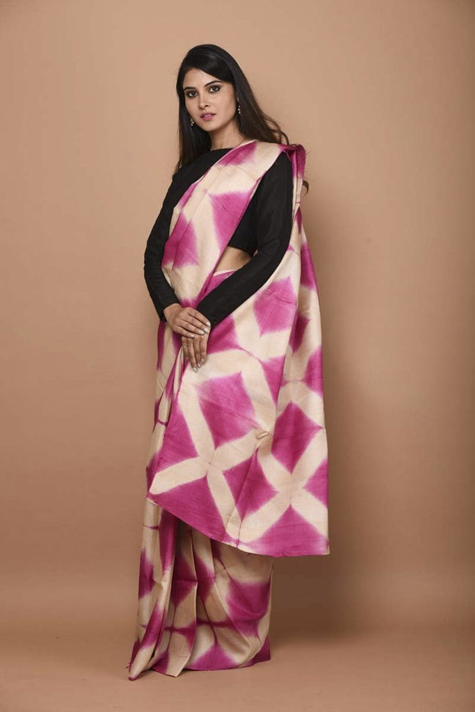 Pink Shade Handwoven Tussar Silk Tie and Dye Saree