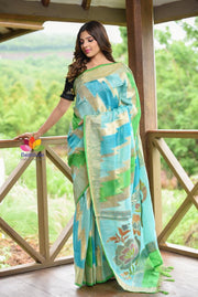 Blue Shade Banarasi Matka Silk Handwoven Saree