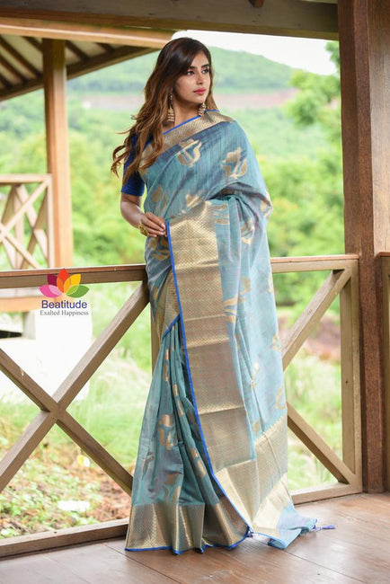 Blue Shade Banarasi Tussar Silk Handwoven Saree