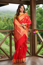 Red Shade Banarasi Chanderi Silk Handwoven Saree