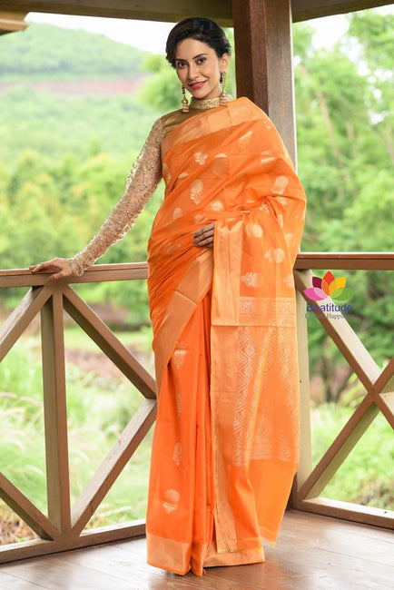 Orange Shade Banarasi Chanderi Silk Handwoven Saree