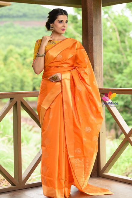 Yellowish Orange Shade Banarasi Chanderi Silk Handwoven Saree