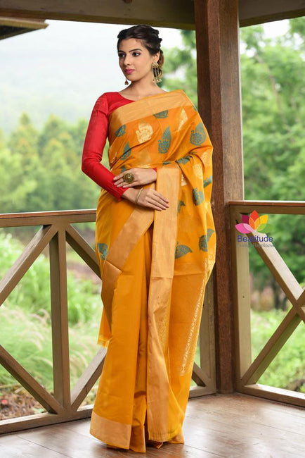 Yellow Shade Banarasi Chanderi Silk Handwoven Saree